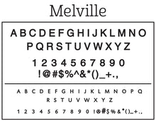 Melville Rectangle Personalized Self Inking Return Address Stamp font