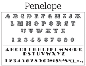 Penelope Personalized Self-inking Round Return Address Stamp Font