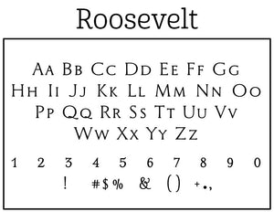 Roosevelt Rectangle Personalized Self Inking Return Address Stamp font