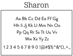 Sharon Rectangle Personalized Self Inking Return Address Stamp font