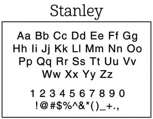 Stanley Rectangle Personalized Self Inking Return Address Stamp font
