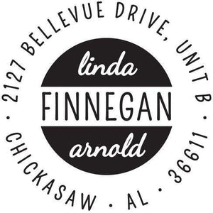 Finnegan Personalized Self-inking Round Return Address Stamp on Envelope