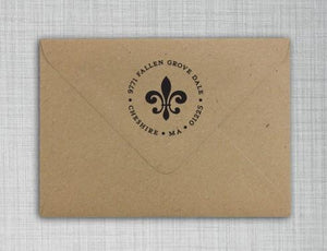 Fleur de Lis Personalized Self-inking Round Return Address Stamp on Envelope