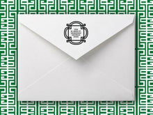 Emily McCarthy Fretwork Personalized Self-inking Round Return Address Stamp on Envelope