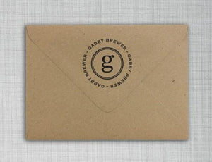 Gabby Personalized Self-inking Round Return Address Stamp on Envelope