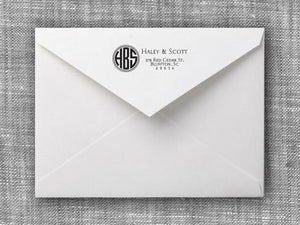Haley Rectangle Personalized Self Inking Return Address Stamp on Envelope