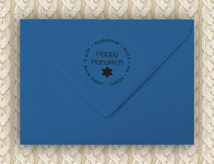 Happy Personalized Self-inking Round Return Address Stamp on Envelope