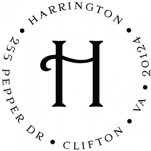 Harrington Round Return Address Self Inking Stamp