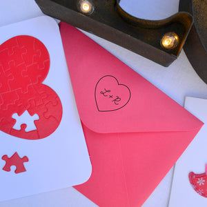 Heart Personalized Self-inking Round Return Address Stamp on Envelope