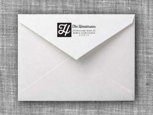 Henderson Rectangle Personalized Self Inking Return Address Stamp on Envelope