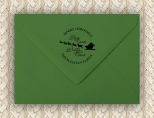 Here He Comes Personalized Self-inking Round Return Address Stamp on Envelope