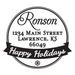 Holiday Personalized Self-inking Round Return Address Stamp on Envelope