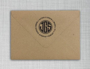 Jackie Personalized Self-inking Round Return Address Stamp on Envelope