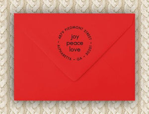 Joy Personalized Self-inking Round Return Address Stamp on Envelope