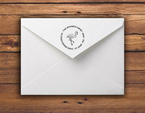 Kelly Hughes Flamingo Personalized Self-inking Round Return Address Stamp on Envelope