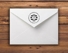 Kelly Hughes Natuical Stripes Personalized Self-inking Round Return Address Stamp on Envelope