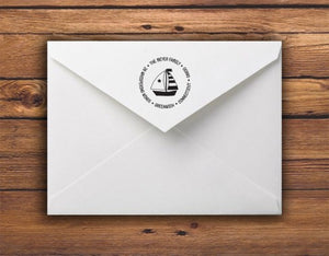 Kelly Hughes Set Sail Personalized Self-inking Round Return Address Stamp on Envelope