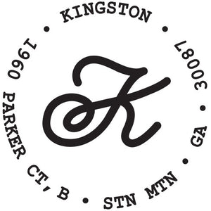 Kingston Personalized Self-inking Round Return Address Stamp on Envelope