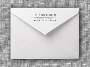 Lucy Rectangle Personalized Self Inking Return Address Stamp on Envelope