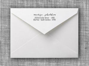 Marisa Rectangle Personalized Self Inking Return Address Stamp on Envelope