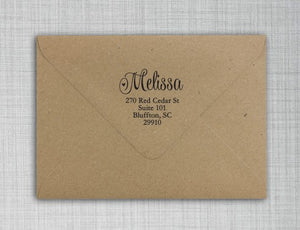 Melissa Personalized Self-inking Round Return Address Design on Envelope