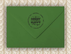Merry Personalized Self-inking Round Return Address Design on Envelope