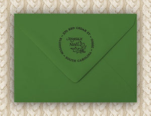 Noel Personalized Self-inking Round Return Address Design on Envelope