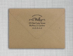 OMalley Return Address Self Inking Stamp Design on envelope
