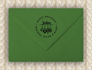 Ornaments Personalized Self-inking Round Return Address Design on Envelope