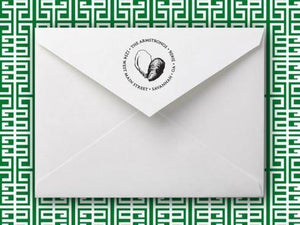 Emily Personalized Self-inking Round Return Address Stamp on Envelope