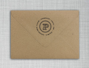 Penelope Personalized Self-inking Round Return Address Stamp on Envelope