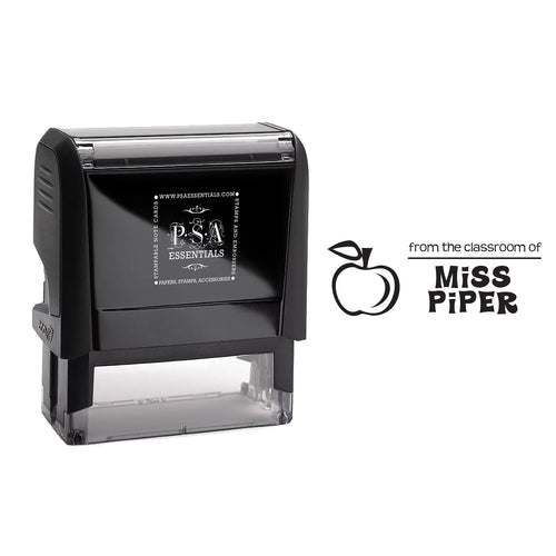 Rectangle PSA Essentials Personalized Self-Inking Teacher Stamp Black