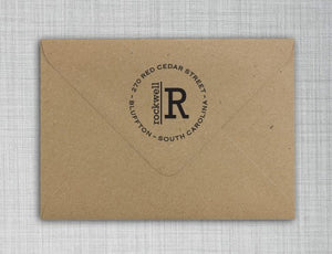 Rockwell Personalized Self-inking Round Return Address Stamp on Envelope