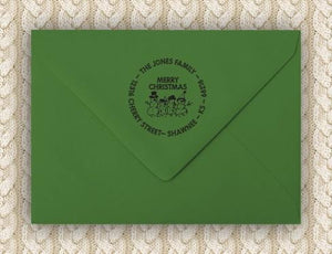 Snow Personalized Self-inking Round Return Address Stamp on Envelope