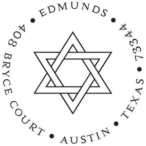 Star of David Outline Return Address Stamp