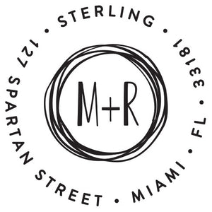 Sterling Personalized Self-inking Round Return Address Stamp on Envelope
