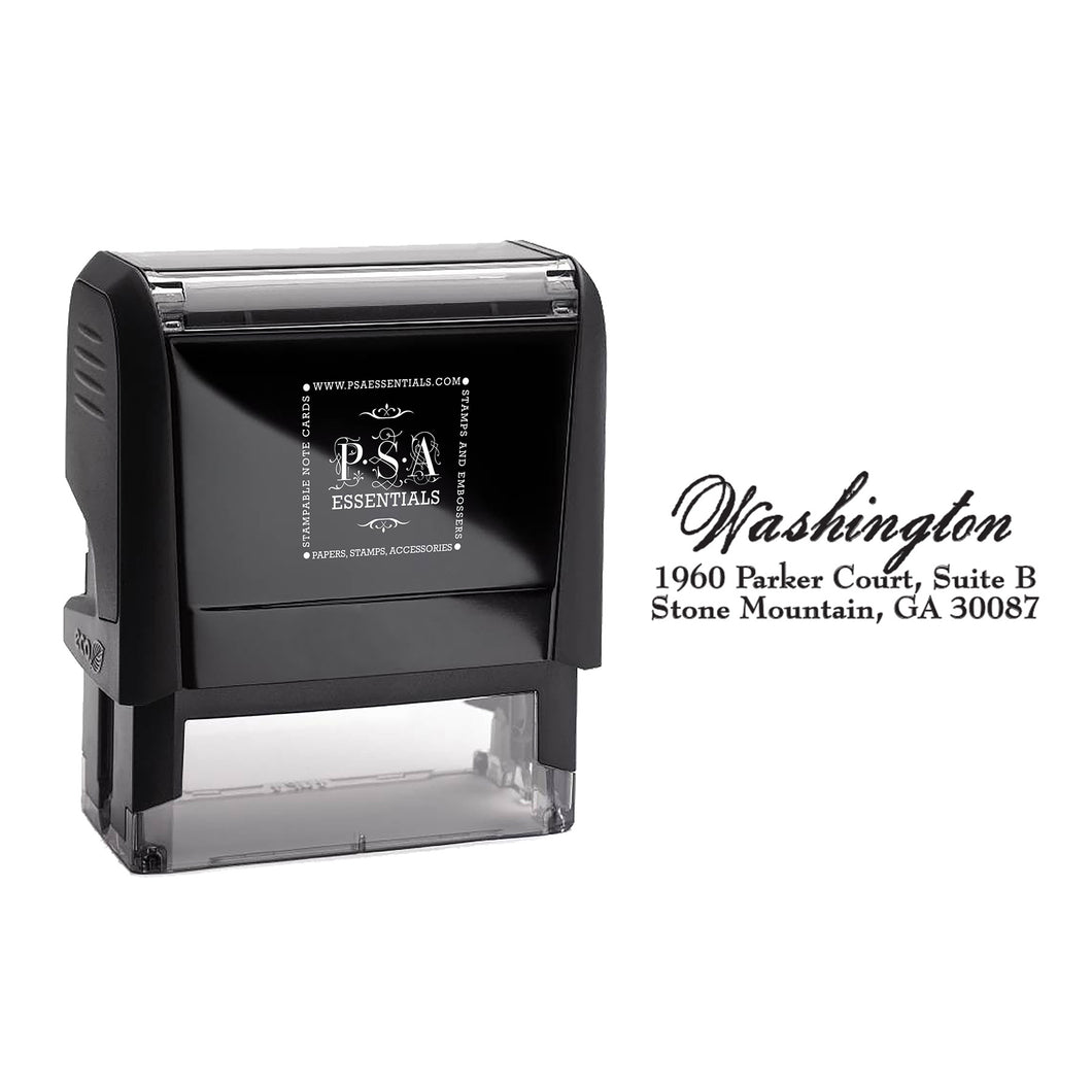 Rectangle PSA Essentials Personalized Self-Inking Return Address Stamp Black