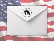 Waving Personalized Self-inking Round Return Address Stamp on Envelope