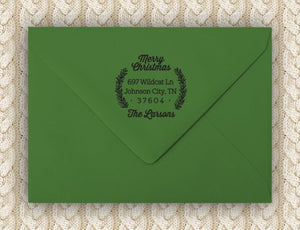 Winter Laurel Personalized Self-inking Round Return Address Stamp on Envelope