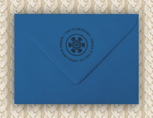 Winter Snow Return Address Stamp Design on envelope