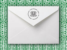 Emily McCarthy Woven Initial Personalized Self-inking Round Return Address Stamp on Envelope