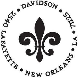 Fleur de Lis Personalized Self-inking Round Return Address Stamp