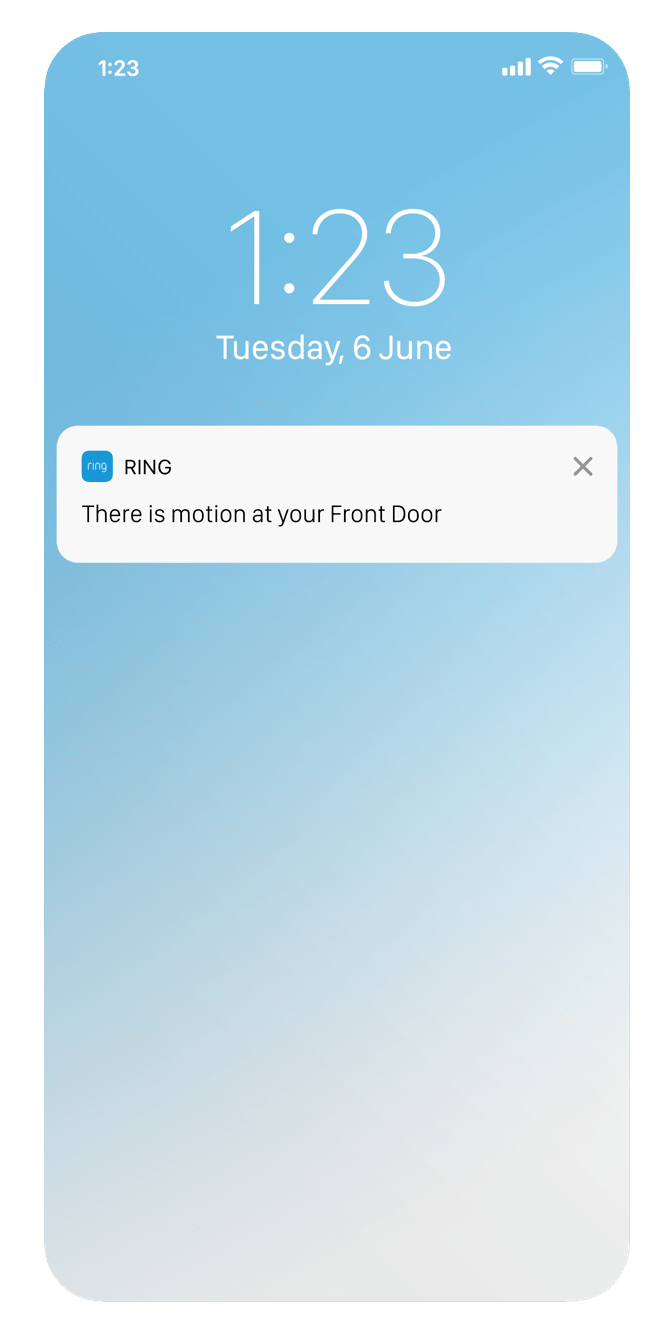 Get Door View Cam alerts via Ring app on your mobile device.
