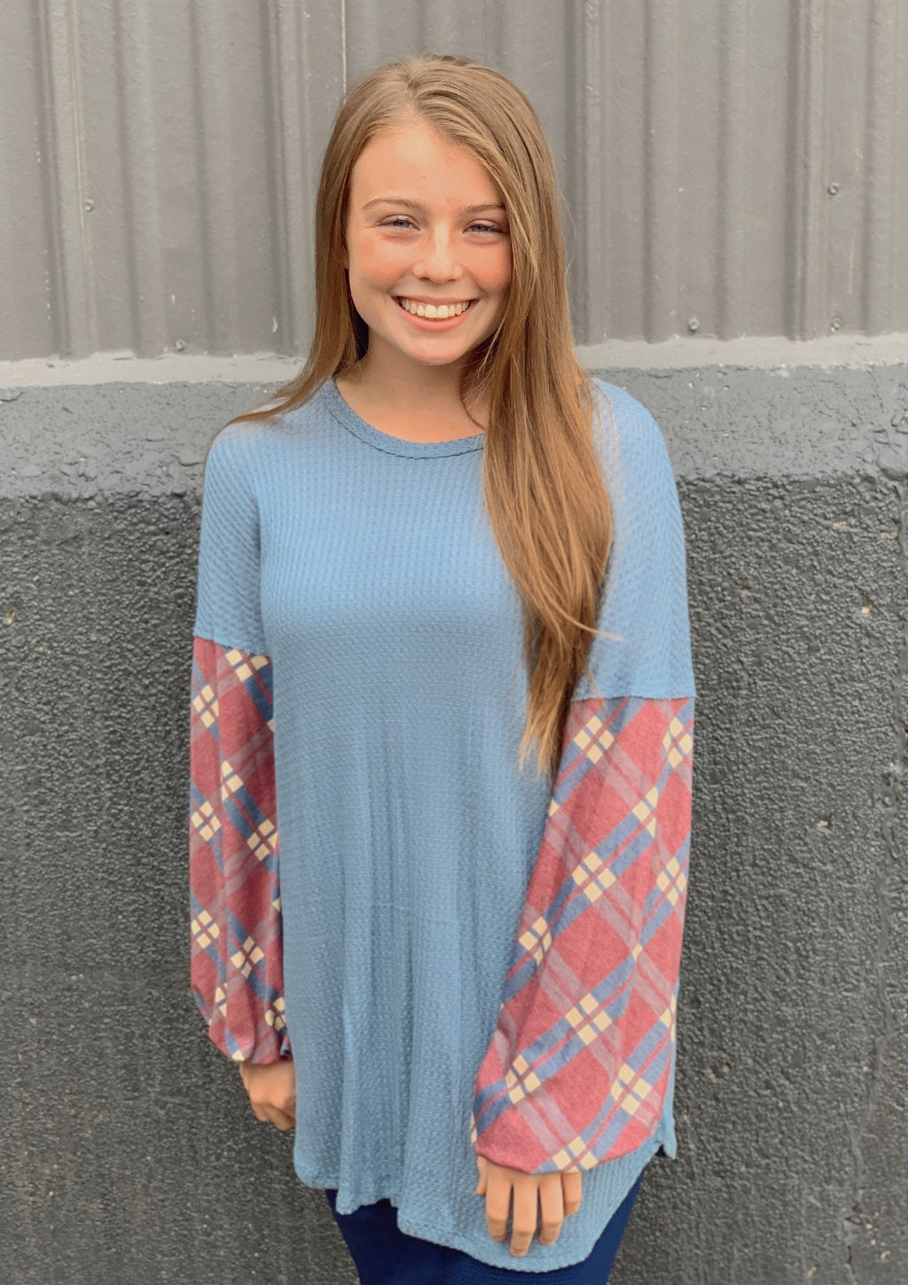 Blue Knit Bubble Sleeve Tunic