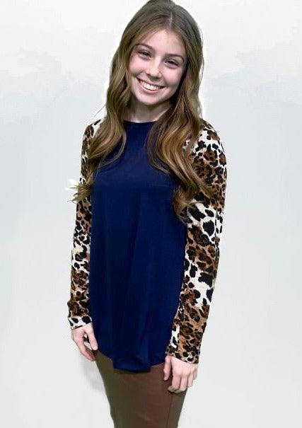 Navy Cheetah Sleeve top
