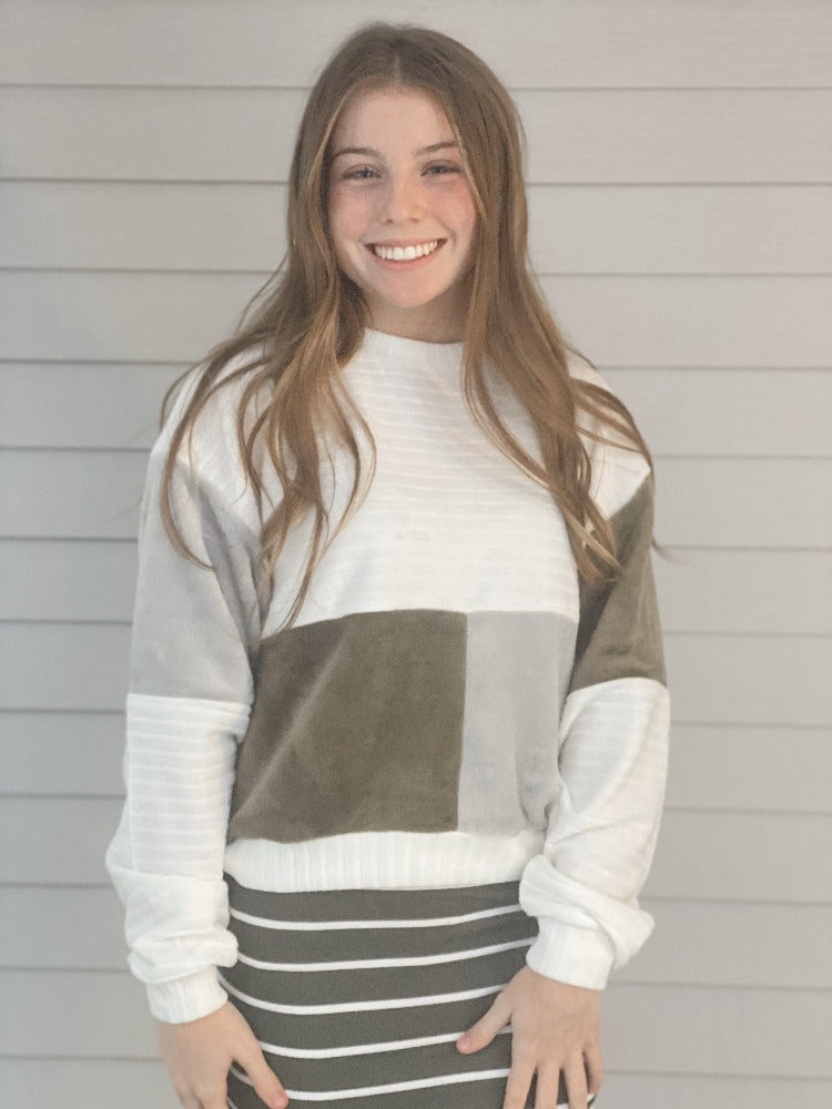 Olive & Gray Block Sweater