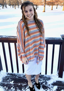Orange & Blue Striped Top