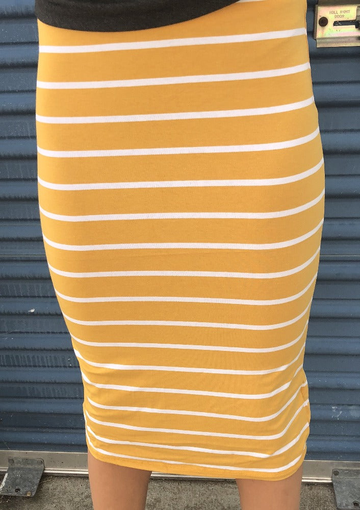Mustard Striped T-shirt Skirt