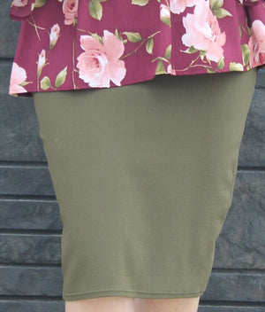 Olive Green MD Pencil Skirt