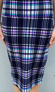 Purple & Turquoise Plaid MD Skirt